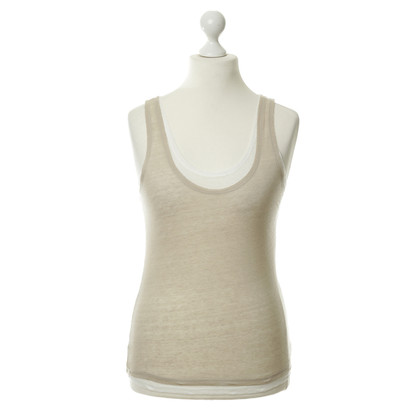 Majestic Linen top in beige and white