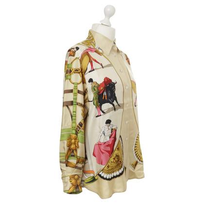 Hermès Zijde blouse met afdrukken