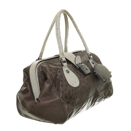 Maurizio Pecoraro  Ostrich leather handle bag