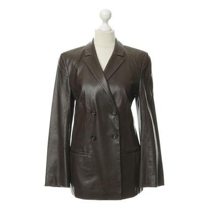 René Lezard Leather Blazer in Brown