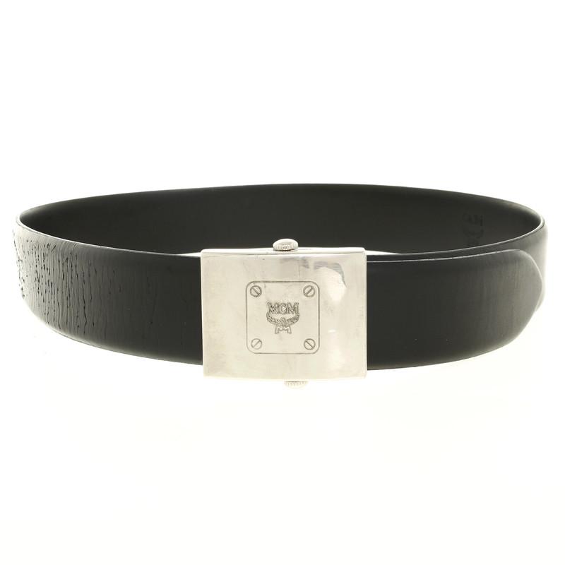mcm black leather belt buy second mcm black leather