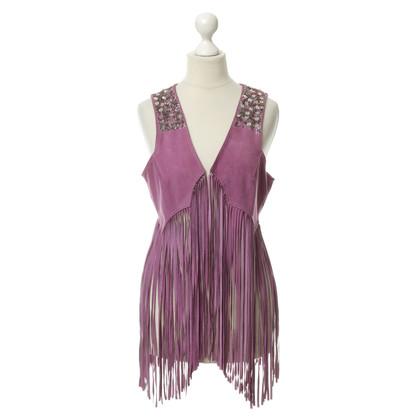 Antik Batik Suede vest with fringe