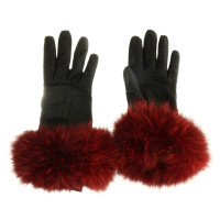 Escada Leather gloves with fur