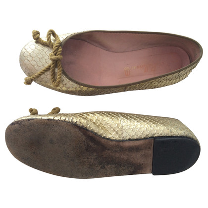 Pretty Ballerinas Gouden Ballerina's met reptiel preegdruk