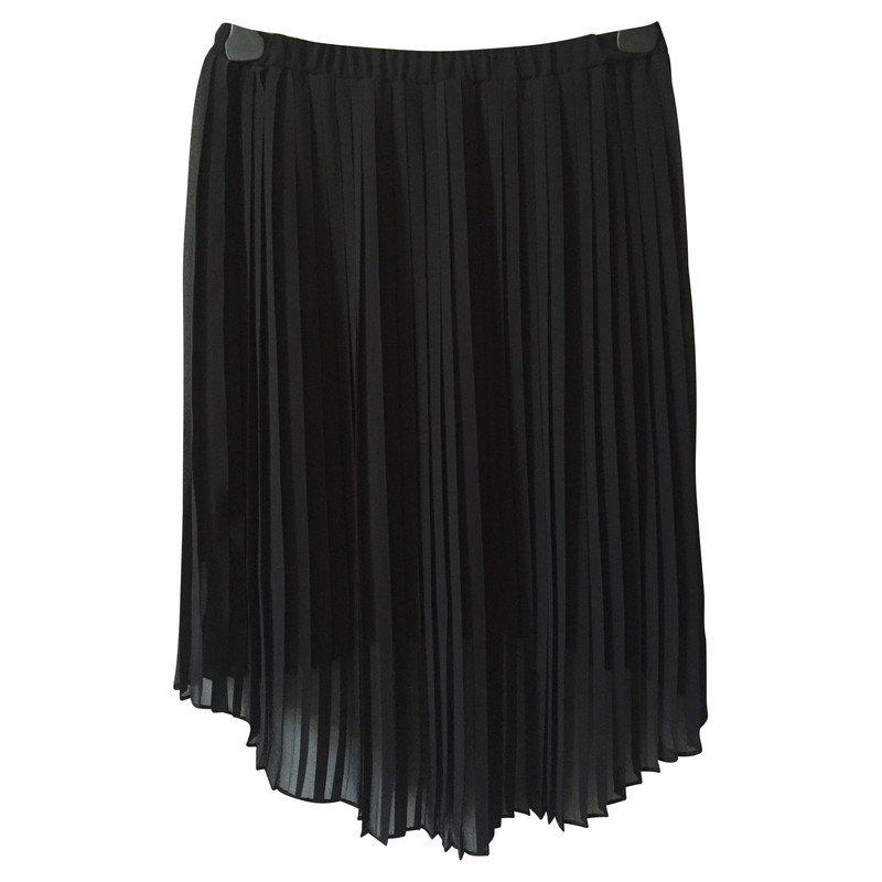 Michael Kors Black Pleated High Low Skirt