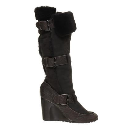 Fendi Pelle di pecora stivali con tacco a zeppa