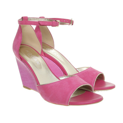 Hogan Wedges of pink suede leather