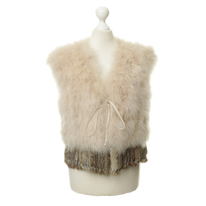 Roberto Cavalli Vest made of fur and feathers