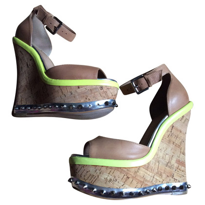 Kurt Geiger Rivets leather and Cork wedges