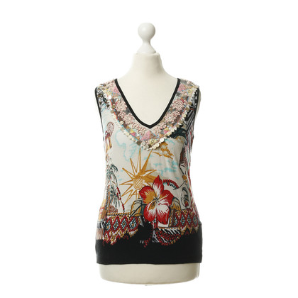 Blumarine Top met patroon en parel trim