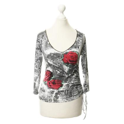 Blumarine Print gem embellished shirt