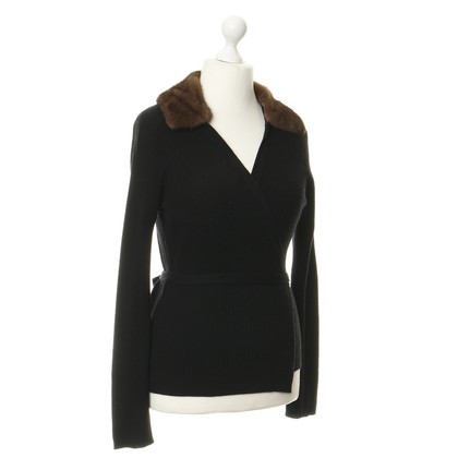Max Mara Cardigan nero con collo in visone