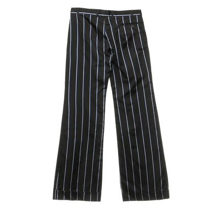 Joseph Pantalone nero con strisce in bianco e blu