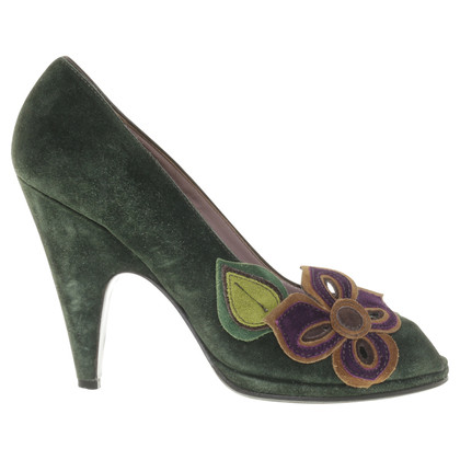 Miu Miu Dark green Peeptoes