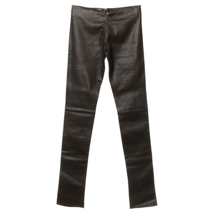 Jitrois Pantaloni in pelle marrone scuro