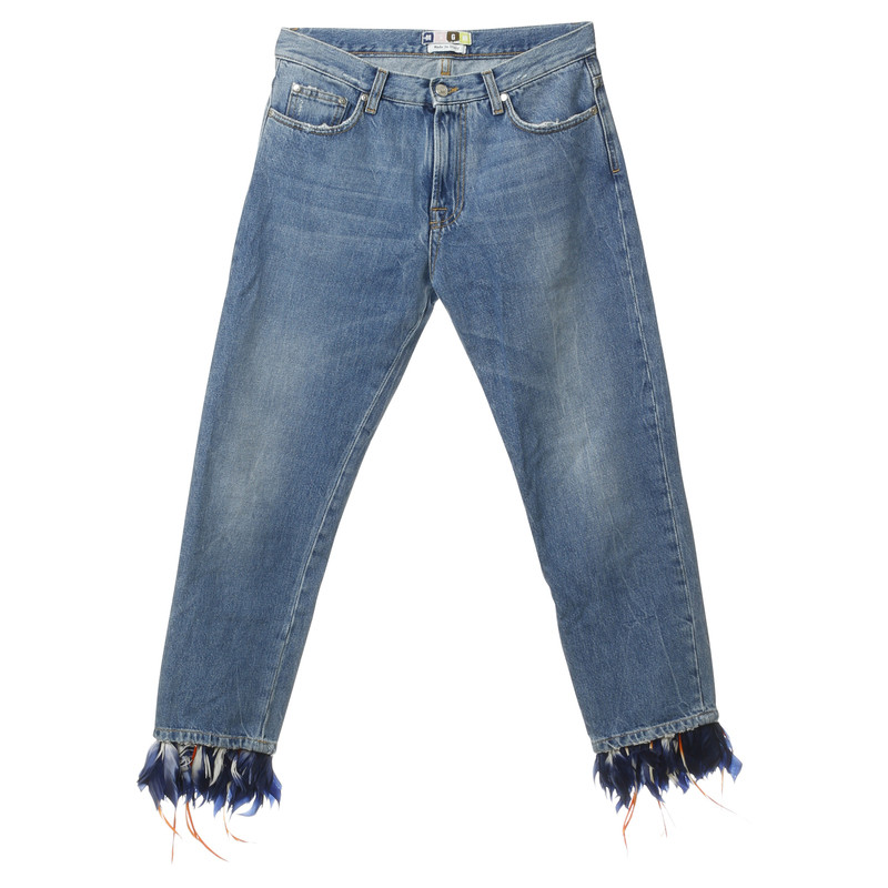 MSGM Jeans with feather trim