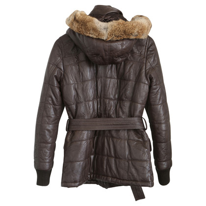 Oakwood Lederen jas met bont