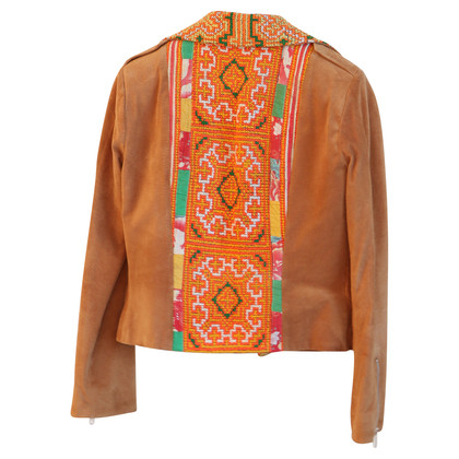 Thu Thu Leather jacket with embroidery