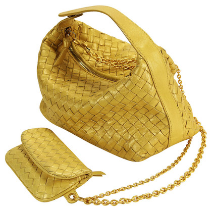 Bottega Veneta Gold-colored Intrecciato leather set