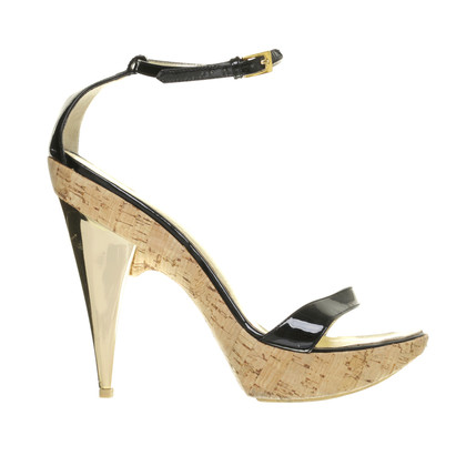 Dsquared2 Sandals in gold, black, and Cork