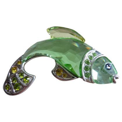 Swarovski Green fish brooch