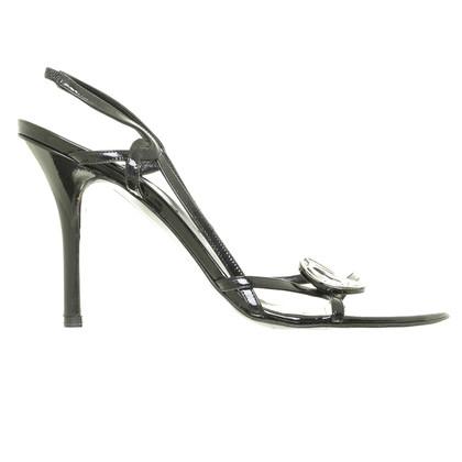 Christian Dior Schwarze Sandaletten mit Logodetail