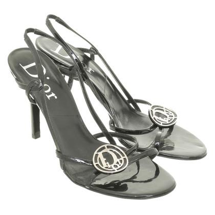 Christian Dior Zwarte sandalen met logo detail