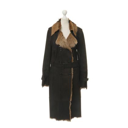 René Lezard Suede coat with goat skin
