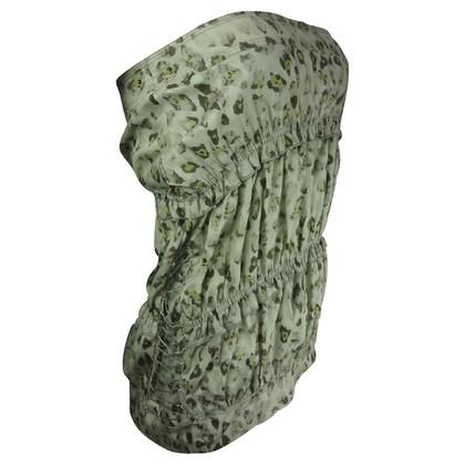Ermanno Scervino Zachtgroene strapless panterprint top