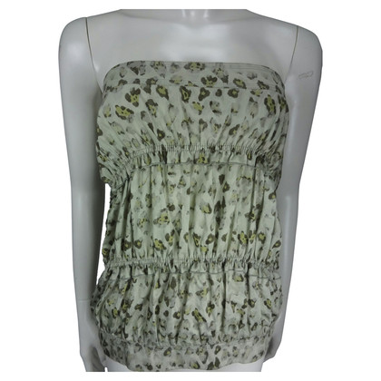 Ermanno Scervino Top con stampa leopardo senza spalline verde morbida