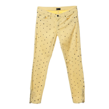 Mother Jeans giallo con timbro-stampa