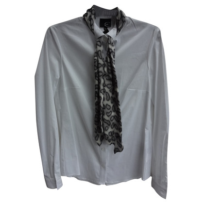 Just Cavalli White blouse with grey scarf
