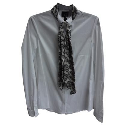 Just Cavalli Bianco camicetta con sciarpa grigio