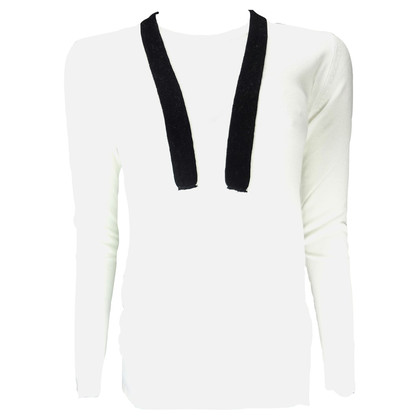 Pierre Balmain White Jersey with black ribbon