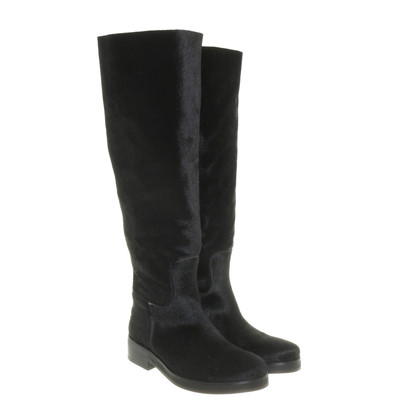 Shabbies Amsterdam Black real fur boots