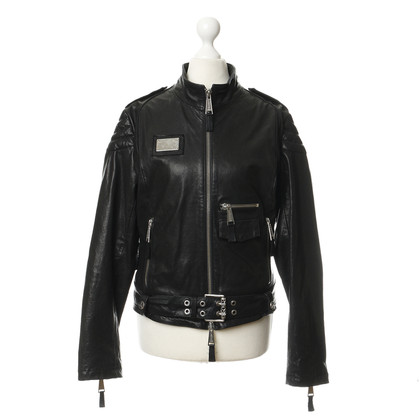 "Philipp Plein Leather jacket with ""peace"" rivets for files"