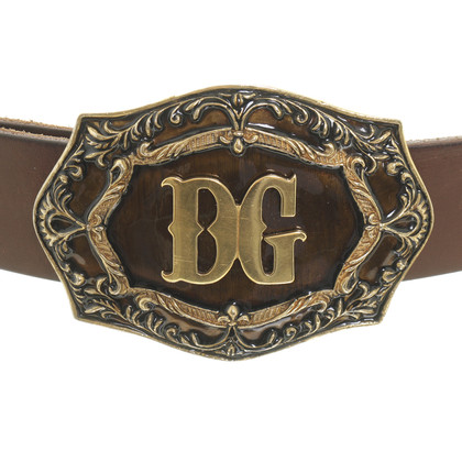 Dolce & Gabbana Leather belt with logo buckle