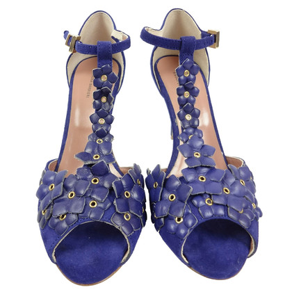 Other Designer Twin-Set Simona Barbieri - cobalt blue pair of peep-toes with flowers