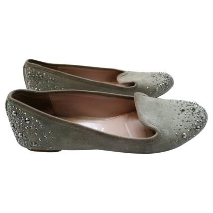 Andere merken Lola Cruz - Mintgrüne instappers met grijs kristallen
