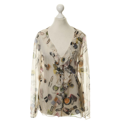 Moschino Cheap and Chic Zijde blouse met make-up motief