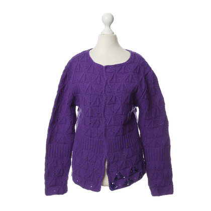 Dries van Noten Violettfarbene Cardigan in lana Merino