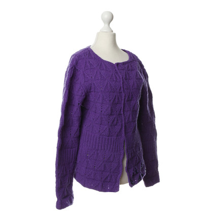 Dries van Noten Violettfarbene Cardigan in Merino Wool