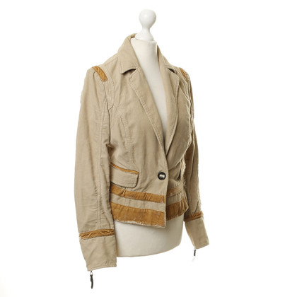Costume National Blazer di velluto a coste beige