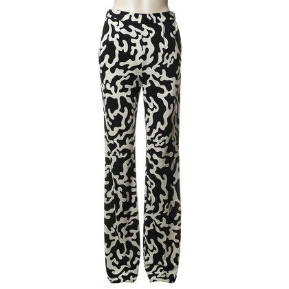 Diane von Furstenberg Silk pants in black and white