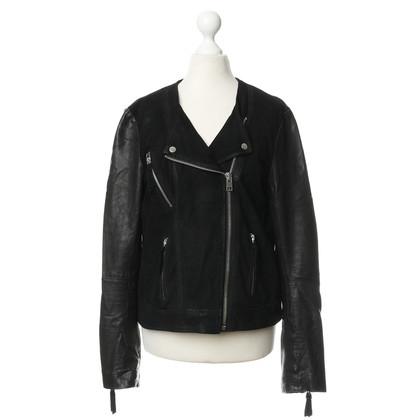 All Saints Black jacket in leather mix