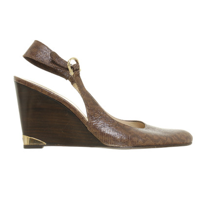 Aigner Slingback wedges in reptile finish