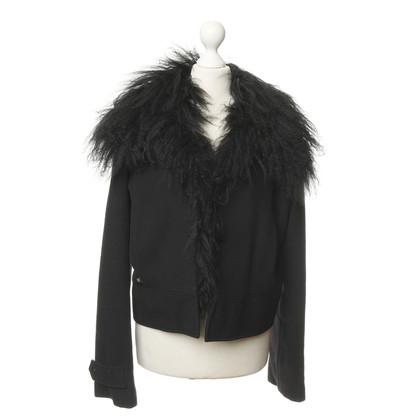 Ferre Black jacket with rabbit fur trim