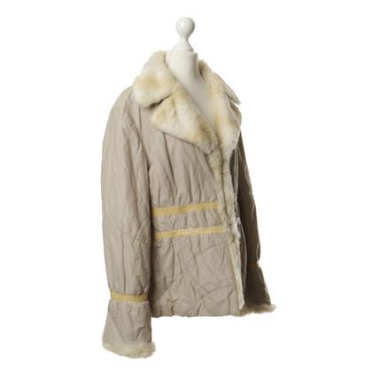 Aigner Beige jacket with rabbit fur trim