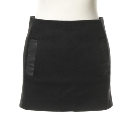 Maje Black mini skirt with leather detail