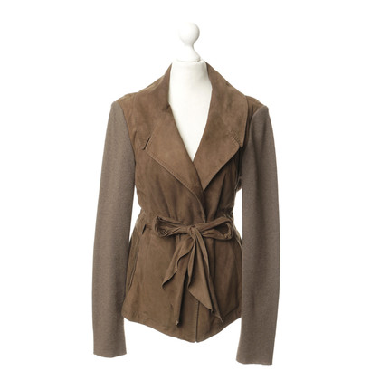 Brunello Cucinelli Suede jacket with knitted sleeves